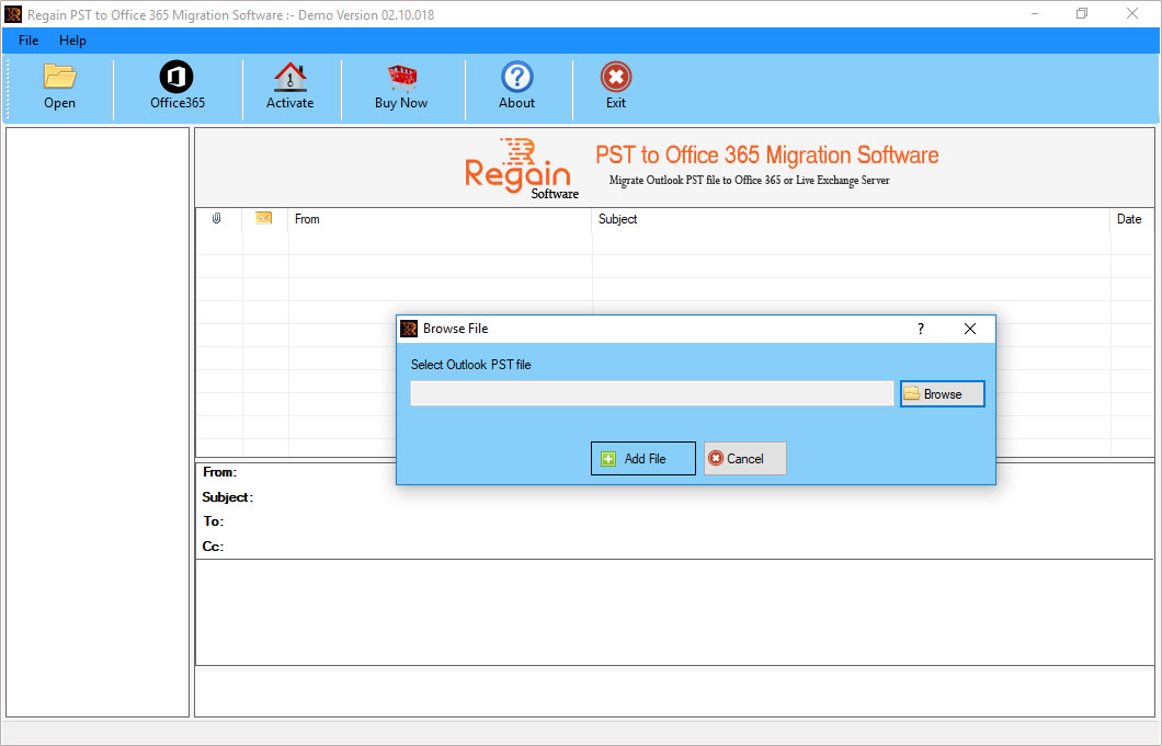 Regain PST to Office365 migraion, export outlook to office365, import pst to office 365, outlook to office365 migration, import pst to office 365, office 365 exporter